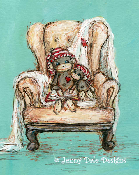 Sock Monkeys In Cozy Chair Art | Jenny Dale Designs