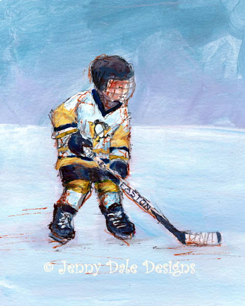 Child Playing Hockey: Classic Penguins Jersey