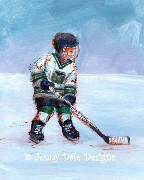 Child Playing Hockey- Whalers Jersey