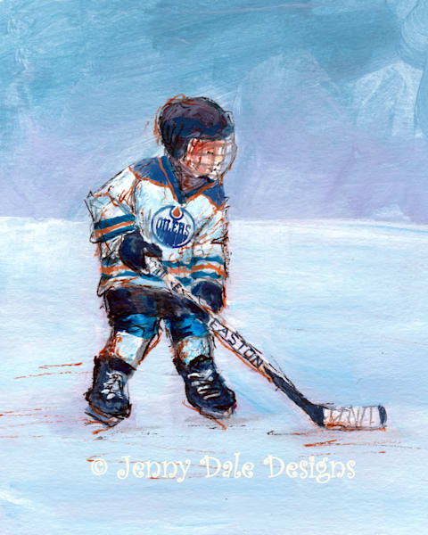 Child playing Hockey- Edmonton Oilers