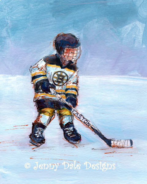Child Playing Hockey  Boston Bruins Jersey Art | Jenny Dale Designs