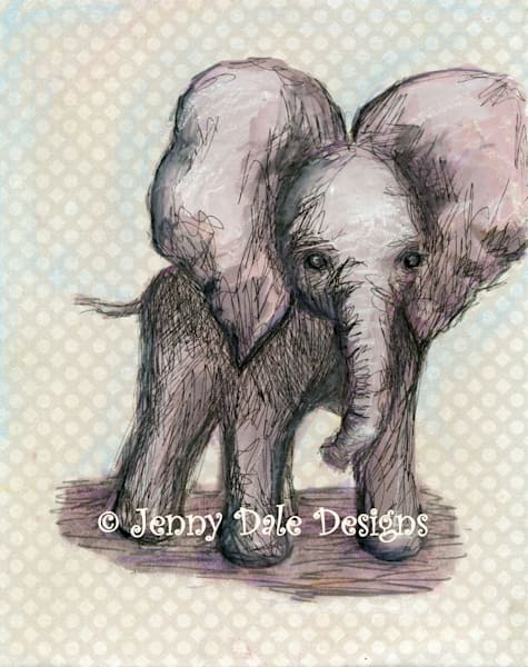 Sweet Baby Elephant: Flapping Ears, Grey Neutral Background