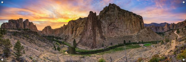 Smith Rock Summer Sunset (161523LND8) Photograph for Sale as Fine Art Metal Print w/Acrylic Overlay & Stainless Steel Corner Posts