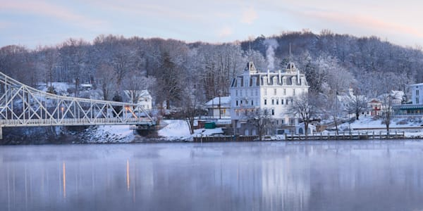 Panoramic view of the Goodspeed Opera House at dawn on a cold winter morning in East Haddam CT.g.