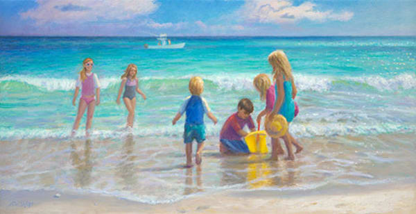 Kids On The Beach Art | Sally C. Evans Fine Art
