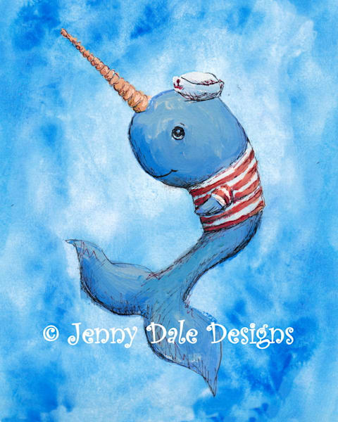 Narwhal Sailor Art | Jenny Dale Designs