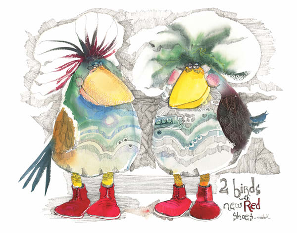 Two Birds with New Red Shoes