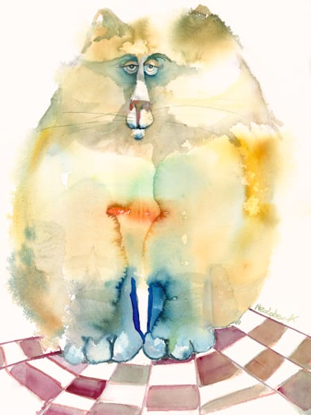 Wet Watercolor Cat