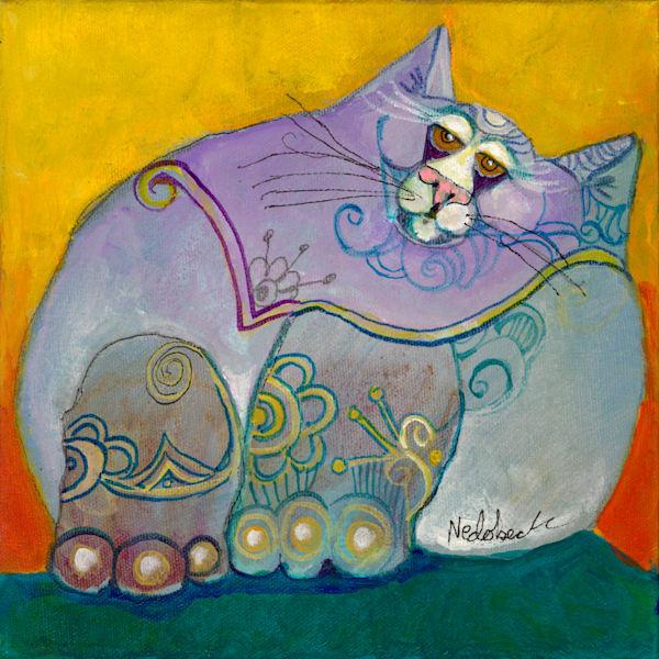 Yellow Purple Green Fat Cat