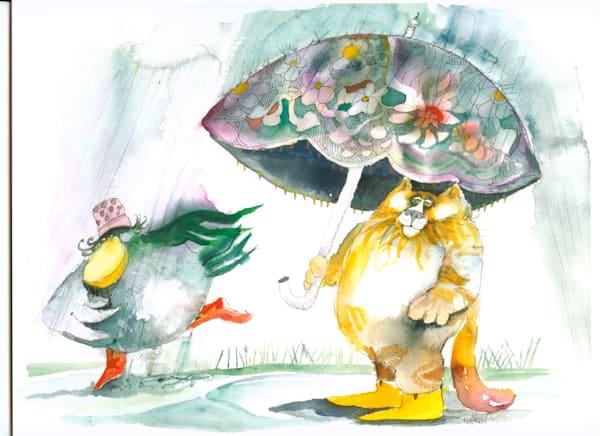 Big Bird Stella and Cat Under Umbrella