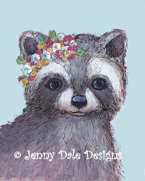 Raccoon with Flower Crown