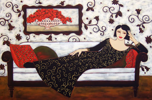 Reclining Woman With Rose Bouquet