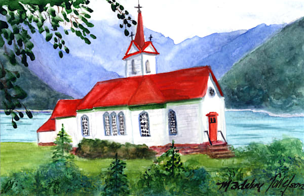 Red Roofed Church by Madeline Tollefson