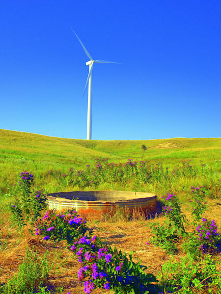Colorful Pasture and Wind Generator--Lincoln, Kansas