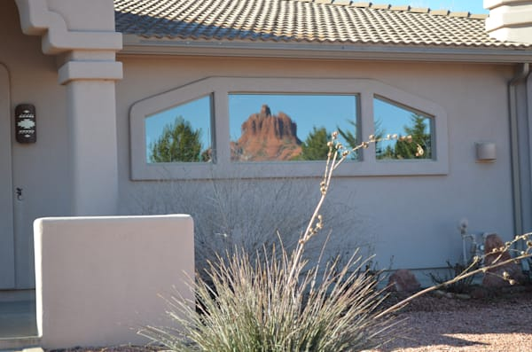 Reflection of Bell Rock Off Window of Home--Sedona, Arizona