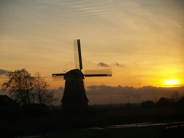 Dutch Windmill at Sunset--Belgium
