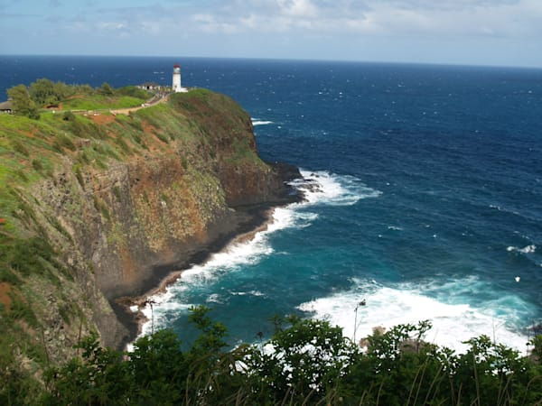 Lighthouse on Peninsula Along Kauai Coastline