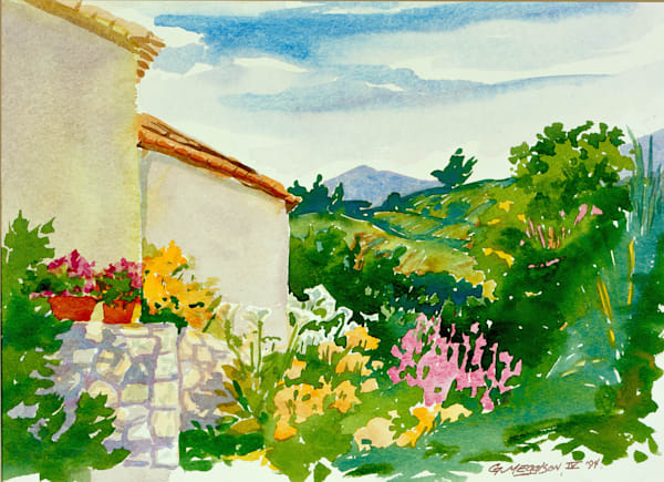 Berlou Vineyards, France | Watercolor Landscapes | Gordon Meggison IV