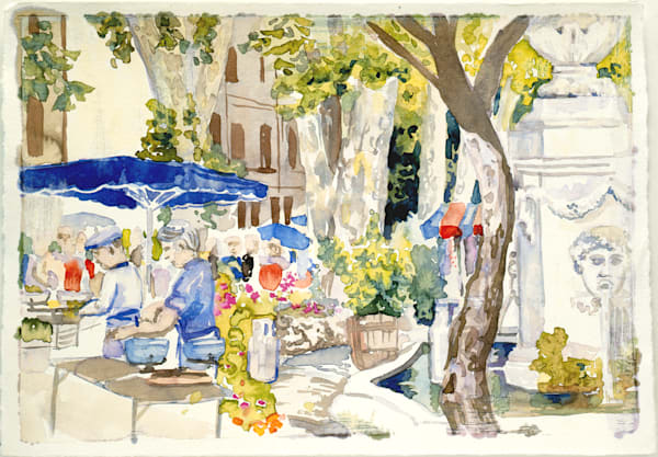 Cotignac Market Day, France | Watercolor Landscapes | Gordon Meggison IV
