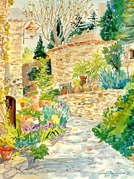 Castelnou, France | Watercolor Landscapes | Gordon Meggison IV
