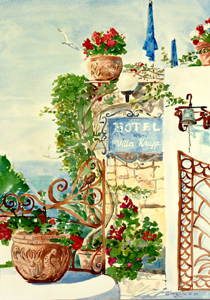 Hotel Villa Krupp, Capri | Watercolor Landscapes | Gordon Meggison IV