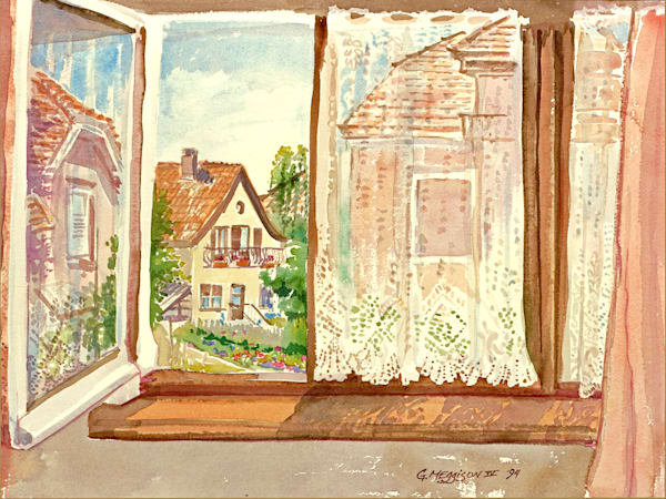 Obernai Window, France | Watercolor Landscapes | Gordon Meggison IV