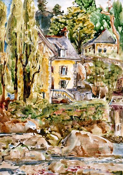 Riverside, Ponte Aven, France | Watercolor Landscapes | Gordon Meggison IV