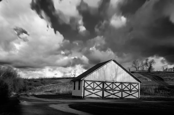 Aging Barn in the Morning Sun Black and White Landscape Photo Wall Art by Landscape Photographer Melissa Fague