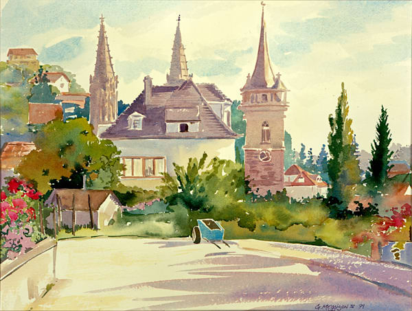 Un Jardin Obernai, France | Watercolor Landscapes | Gordon Meggison IV