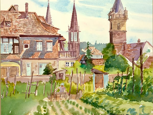 Obernai Gardens, France | Watercolor Landscapes | Gordon Meggison IV