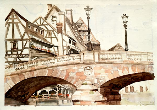 Pont St. Martin, Strasbourg, France | Watercolor Landscapes | Gordon Meggison IV