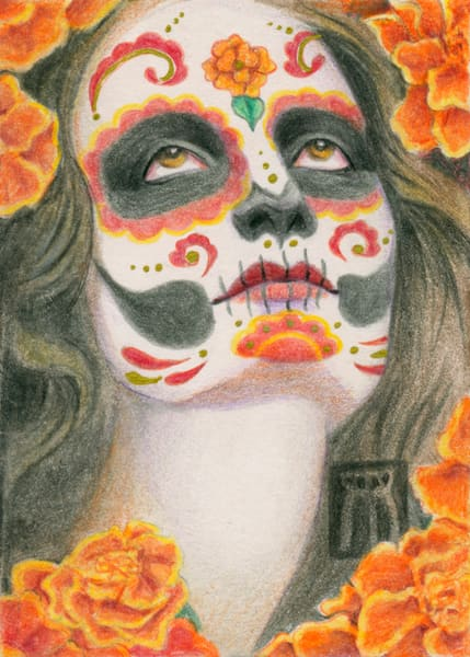 Day of the Dead Face with Marigolds
