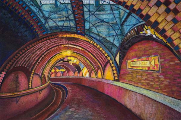 Architecture Art of NYC Hall Subway Art For Sale