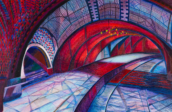 The Red Arch of Underground City Subway For Sale