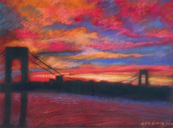 Sunset Art of The George Washington Bridge Painting