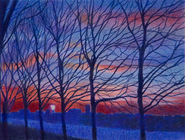 Manhattan Landscape Art of Trees At Sunset For Sale