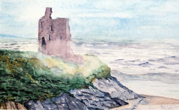Ballybunion Castle in County Claire, West Atlantic Coast of Ireland, painting by David Beale