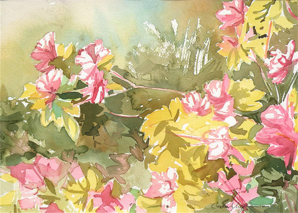 Azaleas in Spring 1 | Watercolor Landscapes | Gordon Meggison IV