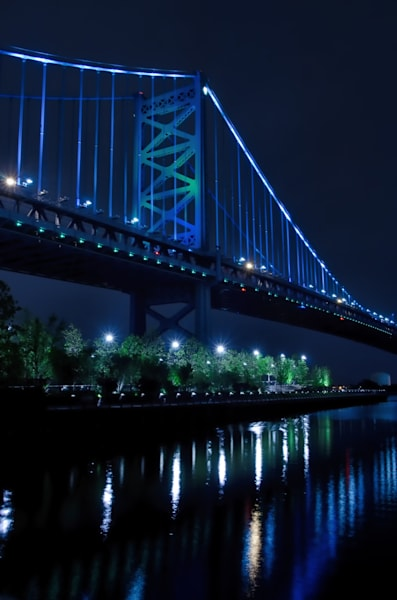 The Ben Franklin Bridge 3 Night Photo Wall Art by Nature photographer Melissa Fague