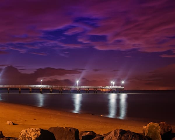 The Pier at Woodland Beach Night Photo Wall Art by Nature photographer Melissa Fague