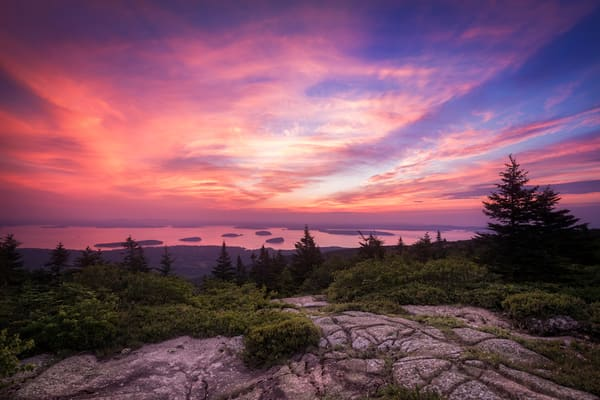 Cadillac Mountain Sunrise, from the highest peak in Maine's Acadia National Park by Mike Taylor of Taylor Photography.