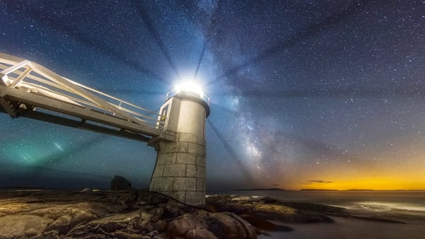 Marshall Point Light At Night Photography Art | Taylor Photography