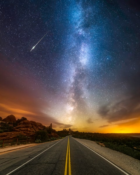 Who Goes There?, a Road Heading to the Milky Way with a Meteor Shooting Through