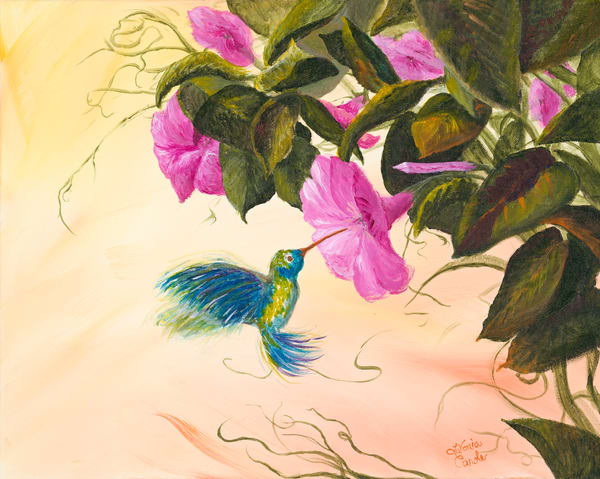Beautiful Hummingbird Flower Art-Fine Art Print
