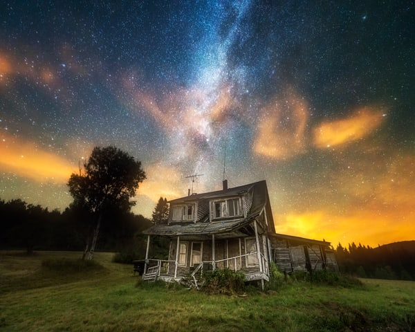 Abandoned, a Lonely House under the Milky Way in New Hampshire