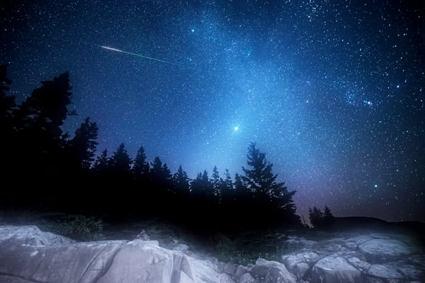 Orion Jupiter Meteor, seen in the sky on Maine's Bold Coast