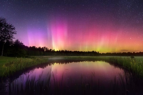 October Aurora II, the Aurora Borealis lights reflecting in a Maine pond