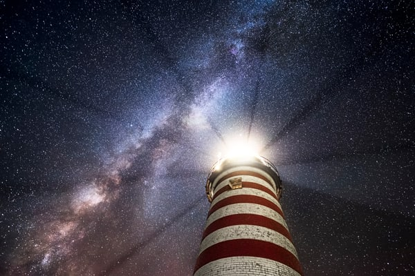 Shadow Rays II, View of the Milky Way seen through the  Shadow Rays cast by West Quoddy Head Light
