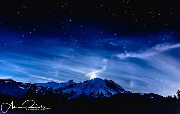 Moonset behind Mt Rainier