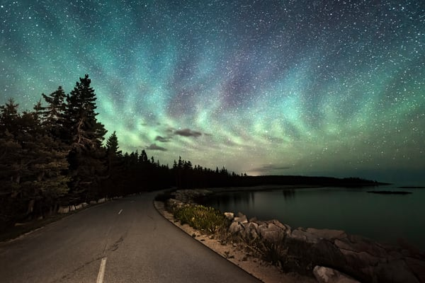 Acadia Airglow, air glow rippling through the dark sky at Acadia National Park